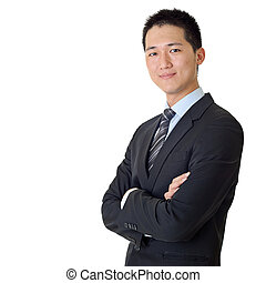 młody, asian handlowy, człowiek