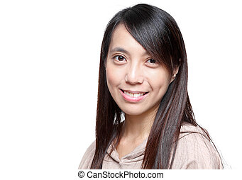 młody, asian kobieta, z, uśmiechanie się