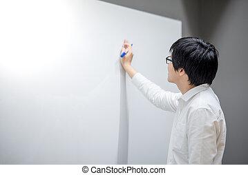 młody, asian obsadzają, pisanie, na białym, deska, w, spotkanie pokój