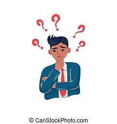 młody, biznesmen, question., ma, zamyślony