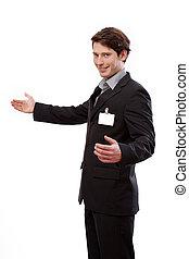 młody, biznesmen, z, id, żeby uplasować się, twój, tekst
