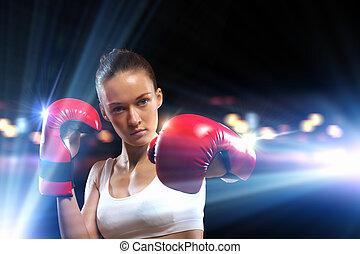 młody, bokser, kobieta