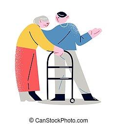 młody, chód, starszy człowiek, kobieta, porcja, piechurzy