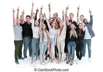 młody, do góry, spoinowanie, grupa, wielki, ludzie