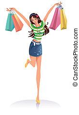 młody, fason, dziewczyna, z, shopping torby