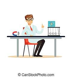 młody, fizyk, posiedzenie za, przedimek określony przed rzeczownikami, biurko, z, ręka do góry