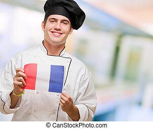 młody, francuski, mistrz kucharski, bandera, dzierżawa, portret