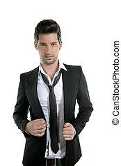 młody, garnitur, krawat, człowiek, przypadkowy, przystojny