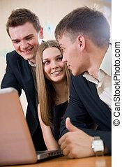 młody, grupa, pracujący, handlowy zaludniają