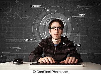 młody, hacker, w, futurystyczny, enviroment, dział,...