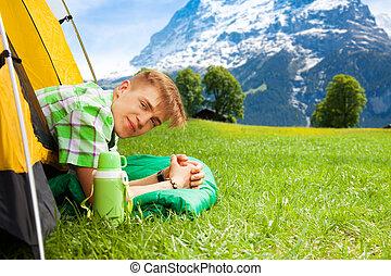 młody, hiking, człowiek