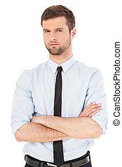 młody, i, successful., przystojny, młody mężczyzna, w, koszula i wiążą, aparat fotograficzny przeglądnięcia, i, keeping, herb krzyżował, znowu, reputacja, odizolowany, na białym, tło