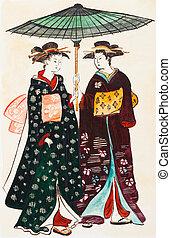 młody, japończyk, tradycyjny, gejsze, odzież, kobiety