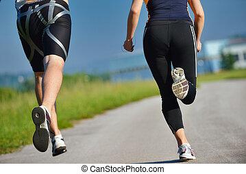 młody, jogging, para, rano