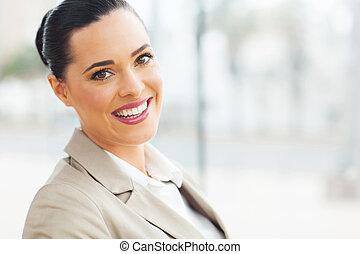 młody, kobieta interesu, portret