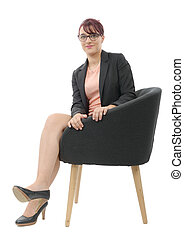 młody, kobieta interesu, posiedzenie w krześle