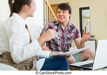 młody, laptop, para