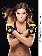 młody, lekkoatletyka, sprzęt, atak, kobieta