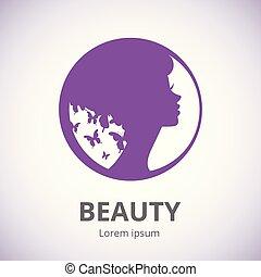 młody, logo, kobieta, piękny, salon, abstrakcyjny, stylizowany, profil, piękno