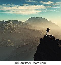 młody mężczyzna, do góry, przedimek określony przed rzeczownikami, góra