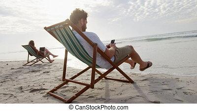 młody mężczyzna, ruchomy, plaża, kaukaski, prospekt, słońce...