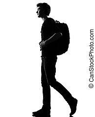 młody mężczyzna, sylwetka, backpacker, pieszy