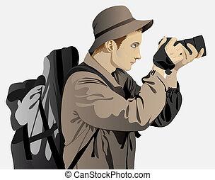 młody mężczyzna, ubrany, w, niejaki, turysta