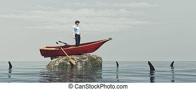 młody mężczyzna, w, niejaki, łódka