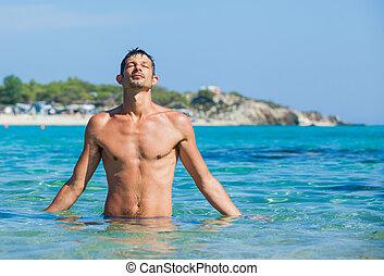 młody, morze, człowiek
