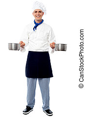 młody, naczynia, mistrz kucharski, dzierżawa, samiec, opróżniać