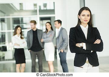 młody, nowoczesna sprawa, biurowe ludzie