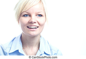 młody, odizolowany, kobieta, portret, uśmiechanie się, biały, szczęśliwy