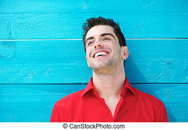 młody, outdoors, portret, uśmiechanie się, przystojny,...
