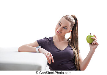 młody, owoc, zielony, ładna dziewczyna, cieszący się