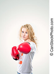 młody, piękna kobieta, w, boks rękawiczki, na białym, tło