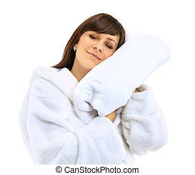 młody, piękna kobieta, w, kąpielowy szlafrok, z, ręcznik, odizolowany, na białym