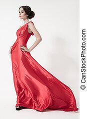 młody, piękno, kobieta, w, trzepotliwy, czerwony, dress., biały, tło.