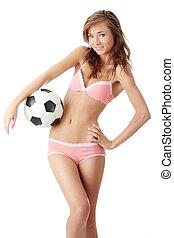 młody, piłka, piłka nożna, kobieta