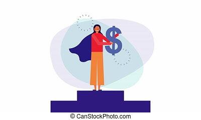 młody, pieniądze, kobieta interesu, podium