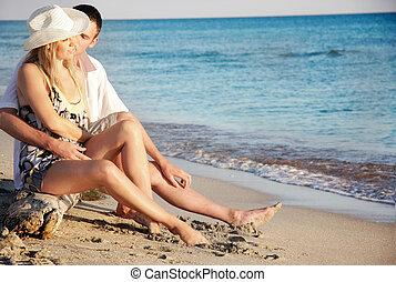 młody, plaża, para