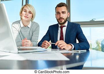 młody, przedstawianie, biuro, handlowy zaludniają