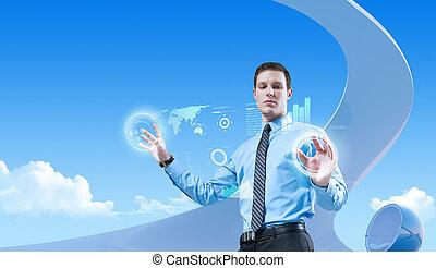 młody, przystojny, biznesmen, używając, futurystyczny, hologram, interfejs, w, przedimek określony przed rzeczownikami, bio, styl, interior., przyszłość, pojęcia, collection.