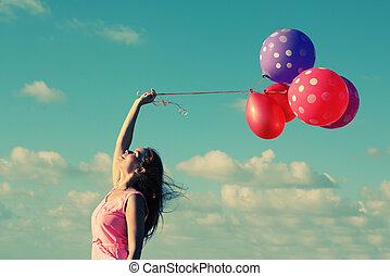 młody, rudzielec, kobieta dzierżawa, balony