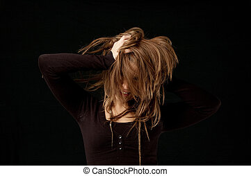młody, samica, flicking, włosy