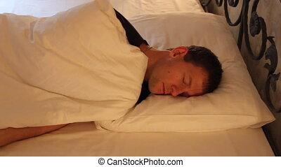 młody, sen, śniący, dobry, łóżko, człowiek