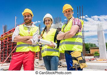 młody, solidny, umiejscawiać, trzy, zaufany, zbudowanie, portret, pracownicy