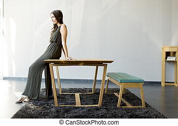 młody, stół, kobieta, pokój, posiedzenie