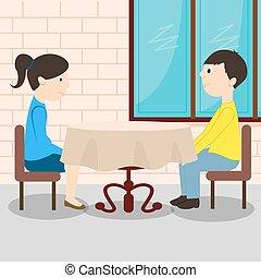 młody, stół, para, romantyk, posiedzenie