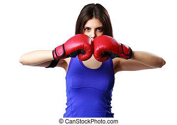 młody, stosowność, kobieta, chodząc, boks rękawiczki, reputacja, odizolowany, na białym, tło