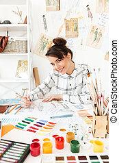 młody, szczęśliwy, dama, fason, ilustrator, rysunek